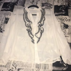 Small cream and black sheer blouse - Forever 21